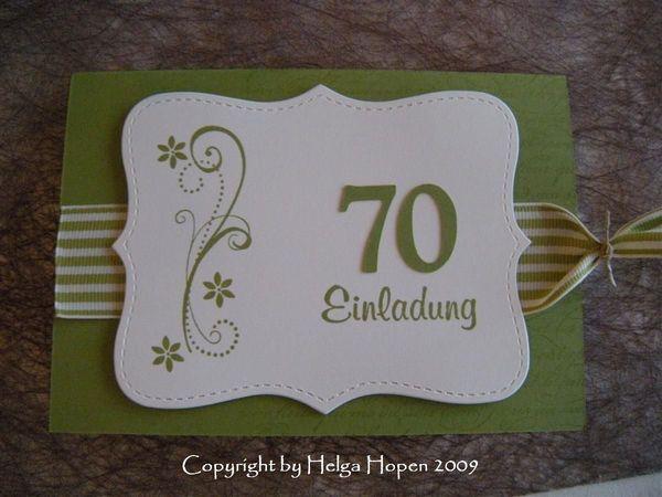 Einladungskarten Zum 70 Geburtstag Stempelkunst By Helga