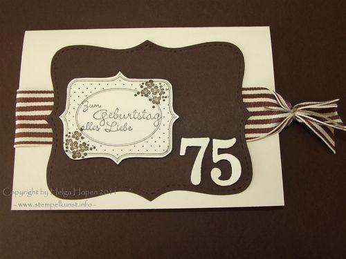 Karte Zum 75 Geburtstag Stempelkunst By Helga